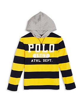 Ralph Lauren - Boys' Rugby Stripe Logo Hoodie Tee - Little Kid, Big Kid