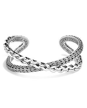 John Hardy Women\\\'s Sterling Silver Asli Classic Chain Link Crossover Medium Cuff Bracelet-Jewelry & Accessories