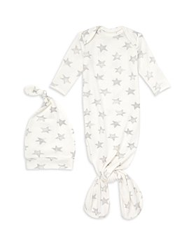 Aden and Anais - Unisex 2 Pc. Star Print Snuggle Knit Gown & Hat Set - Baby