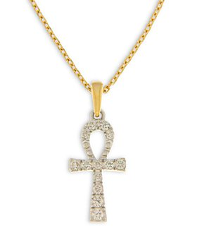 Bloomingdale's - Diamond Ahnk Pendant Necklace in 14K White and Yellow Gold, 0.10 ct. t.w. - 100% Exclusive