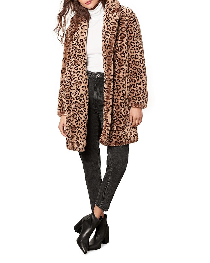 Cupcakes And Cashmere Tinsley Faux Fur Leopard Coat In Brown