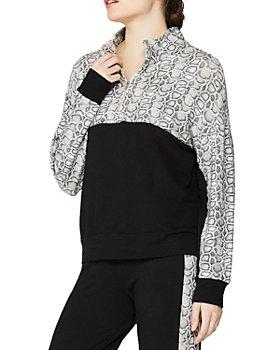 Monrow - Colorblocked Snakeskin Print Sporty Sweatshirt