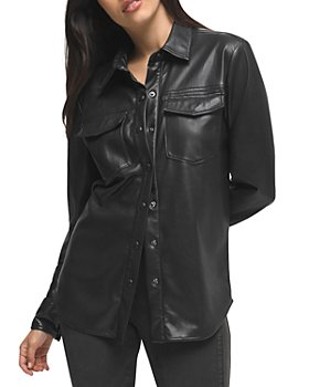 Good American - Faux Leather Military Shirt