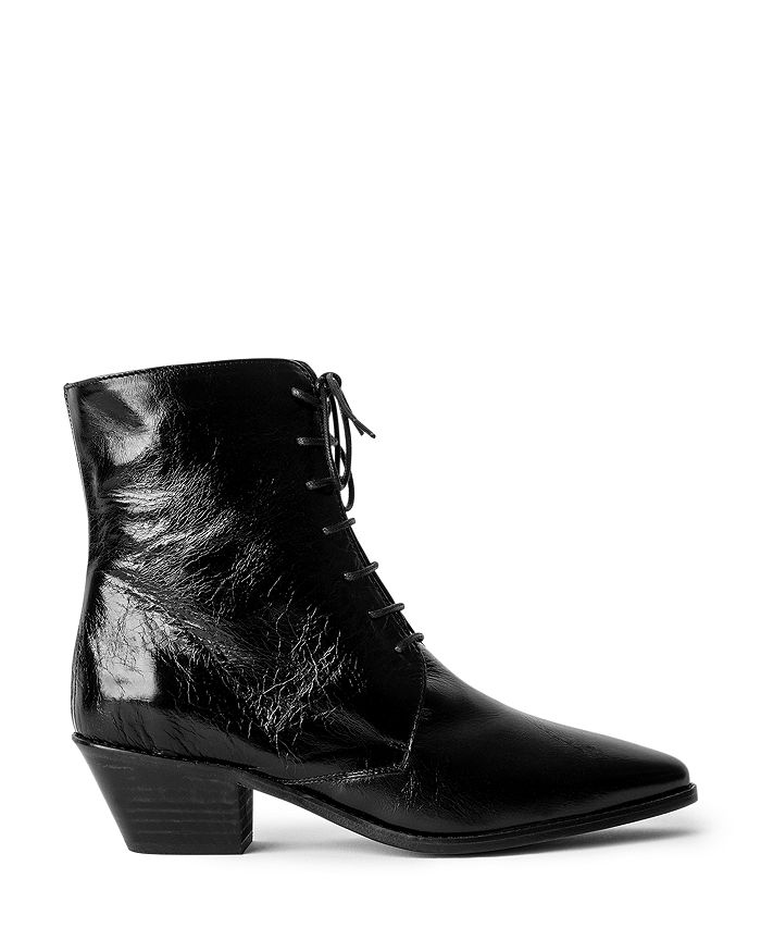 Zadig & Voltaire - Women's Tyler Pointed Toe Vintage Look Patent Leather Ankle Boots