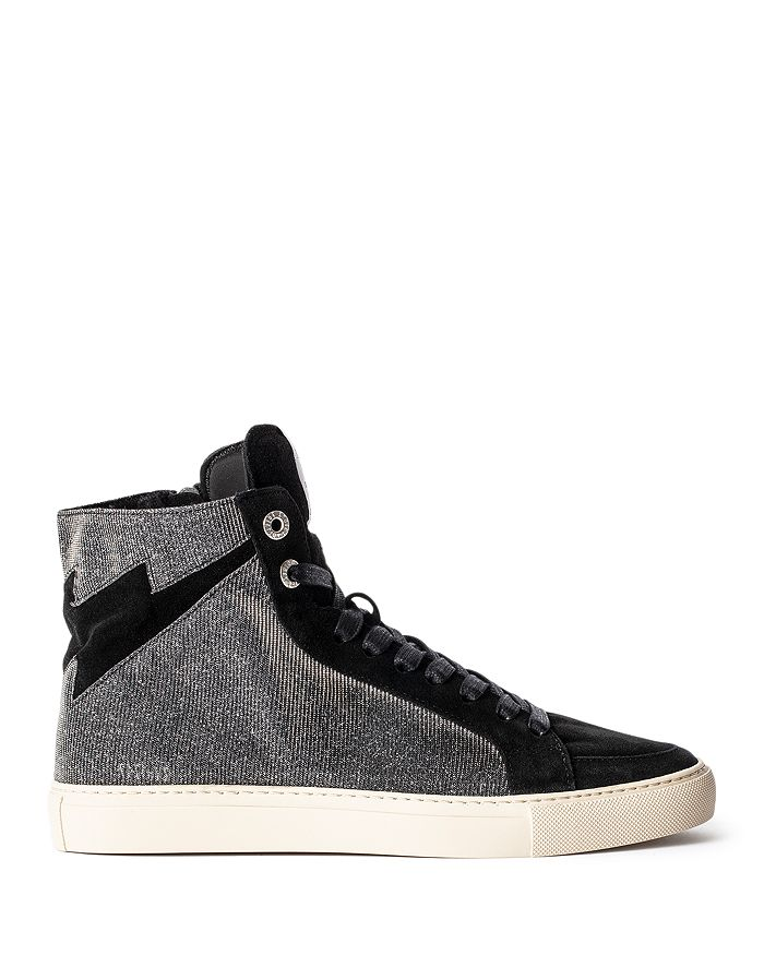 Zadig & Voltaire WOMEN'S ZV1747 HIGH FLASH SPARKLE HIGH TOP SUEDE SNEAKERS