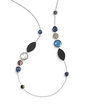 Ippolita Sterling Silver Wonderland Black Shell, Onyx, Mother-of-Pearl and Clear Quartz Doublet Neck