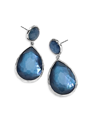 Ippolita Sterling Silver Wonderland Mother-of-Pearl & Clear Quartz Doublet Drop Earrings in Celeste