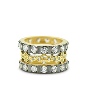 Freida Rothman - Visionary Fusion Cubic Zirconia Clover Stack Rings in Silver & Gold Tone Sterling Silver, Set of 3