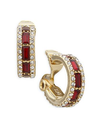 Ralph Lauren - Pavé & Red Stone Clip On Hoop Earrings in Gold Tone
