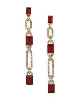Ralph Lauren - Pavé & Red Stone Linear Drop Earrings in Gold Tone
