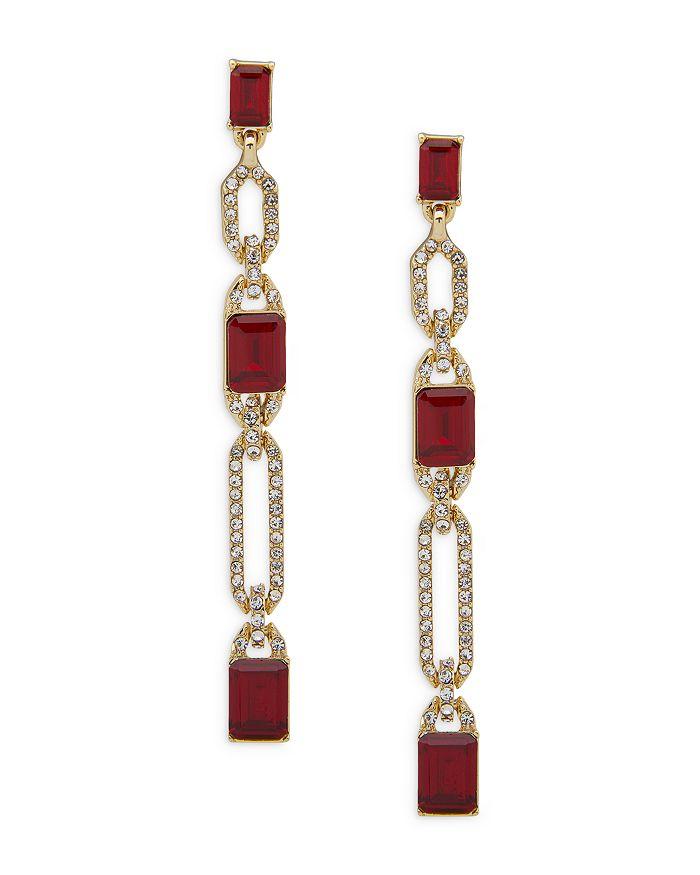 Ralph Lauren - Pavé & Red Stone Linear Drop Earrings in Gold Tone