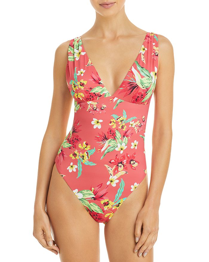 AQUA - Ruched Printed One Piece Swimsuit