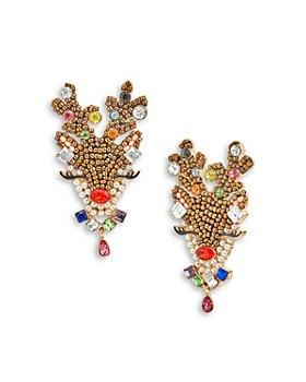 BAUBLEBAR - Clarice Multicolor Crystal & Imitation Pearl Reindeer Drop Earrings