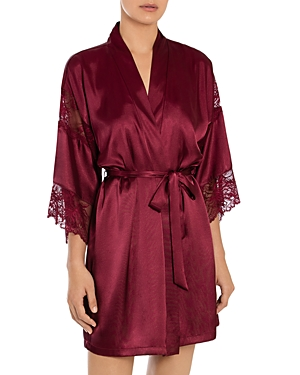 In Bloom by Jonquil Lace Trim Satin Wrap Robe-Women