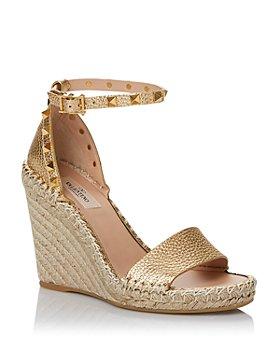 Valentino Garavani - Women's Rockstud Double Espadrille Metallic Wedge Sandals
