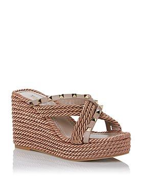 Valentino Garavani - Women's Rockstud Torchon Wedge Espadrille Sandals