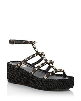 Valentino Garavani - Women's Rockstud Torchon Studded Espadrille Wedge Sandals