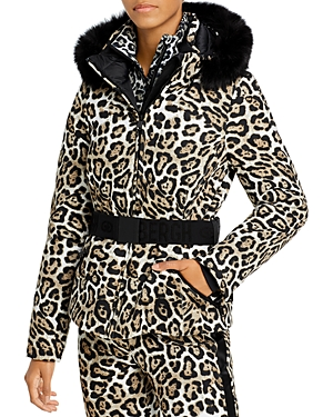 Wild Leopard Print Hooded Down Jacket