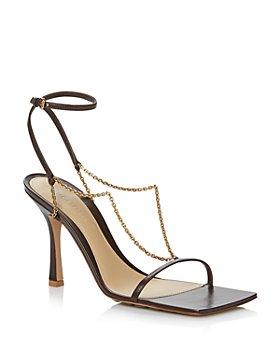 Bottega Veneta - Women's Square Toe Chain Strap High Heel Sandals
