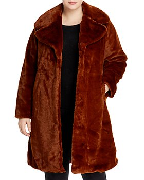 AQUA Curve - Faux-Fur Coat With Wide Lapels- 100% Exclusive