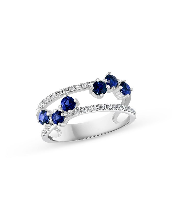 Bloomingdale's - Blue Sapphire & Diamond Statement Ring in 14K White Gold - 100% Exclusive