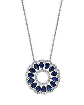 "Bloomingdale's - Blue Sapphire & Diamond Circle Pendant Necklace in 14K White Gold, 18"" - 100% Exclusive"