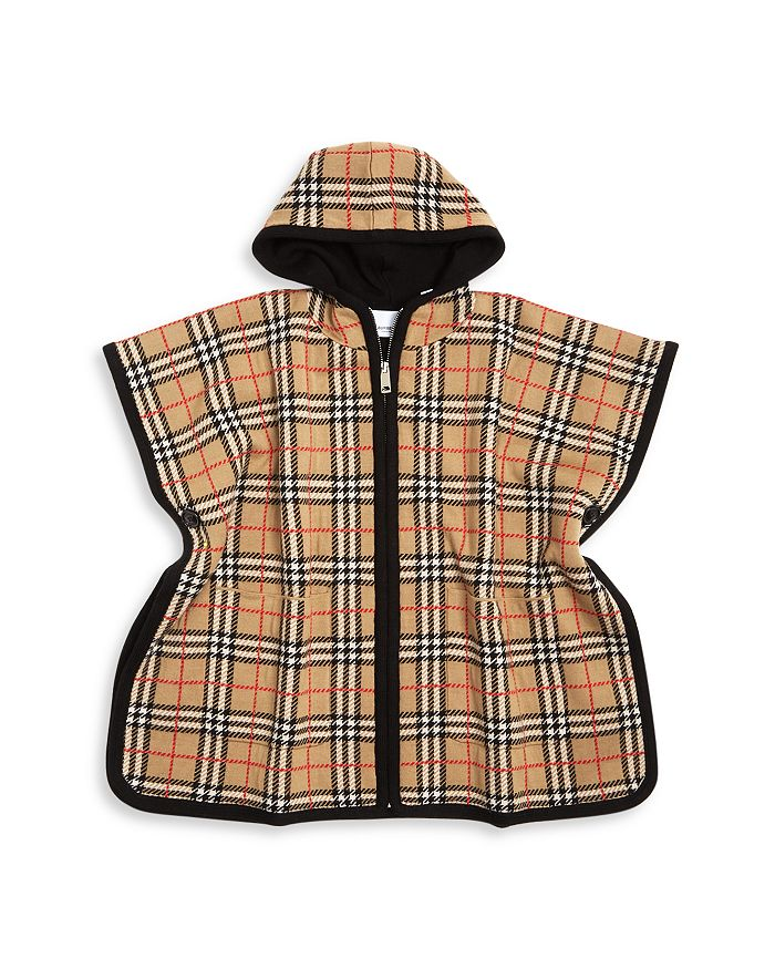 Burberry Girls' Vintage Check Hooded Wool Cape - Big Kid In Archive