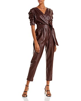 AQUA - Faux Leather Ruched Sleeve Jumpsuit - 100% Exclusive
