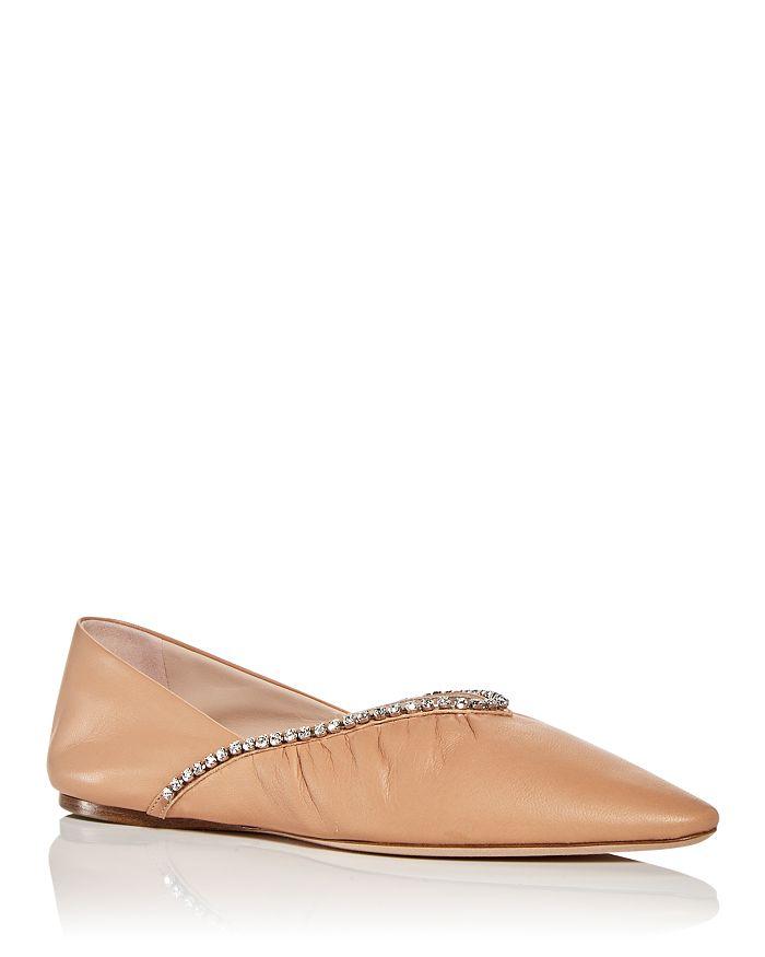 Miu Miu - Embellished Pointed Toe Ballet Flats