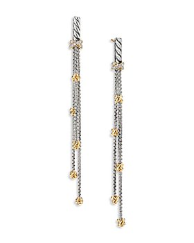 David Yurman - Sterling Silver Petite Helena Chain Drop Earrings with 18K Yellow Gold & Diamonds