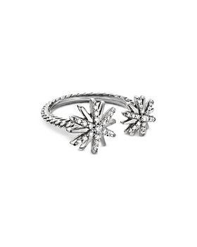 David Yurman - Sterling Silver Starburst Bypass Ring with Diamonds