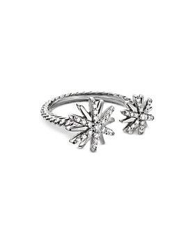 David Yurman - Sterling Silver Starburst Bypass Ring with Diamonds