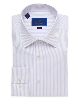 David Donahue - Striped Trim Fit Dress Shirt