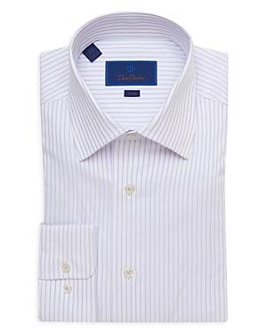 David Donahue Striped Trim Fit Dress Shirt-Men