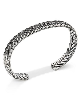 David Yurman - Sterling Silver Chevron Cuff Bracelet with Black Diamonds