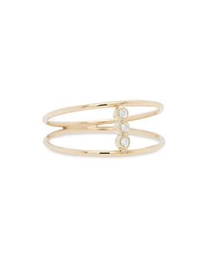 Zoe Chicco 14K Yellow Gold Bezel Diamonds Double Band Statement Ring