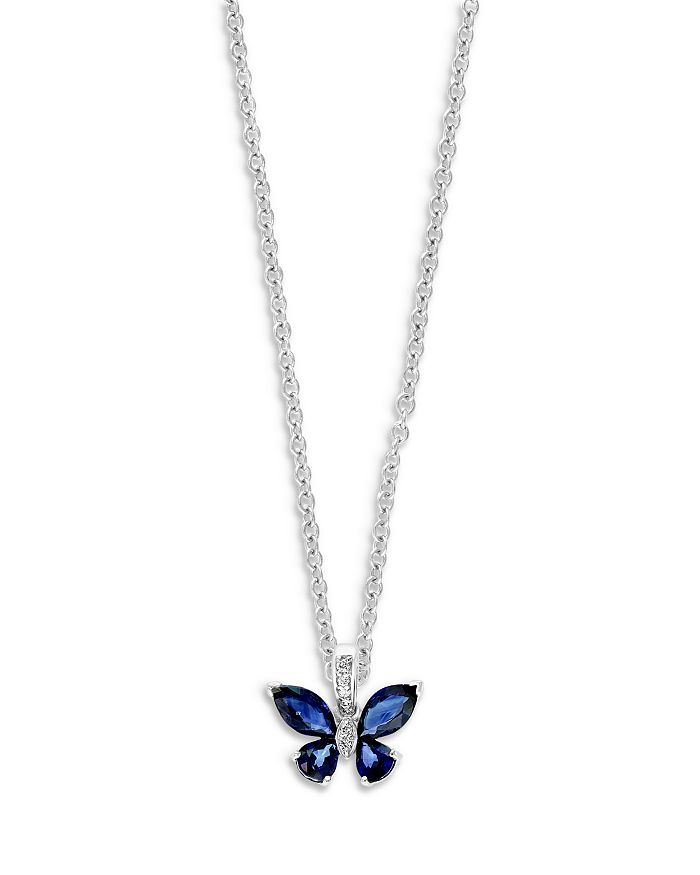 """Bloomingdale's - Blue Sapphire & Diamond Butterfly Pendant Necklace in 14K White Gold, 18"""" - 100% Exclusive"""