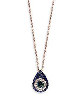 "Bloomingdale's - Blue Sapphire, Blue, Black and White Diamond Evil Eye Pendant Necklace in 14K Rose Gold, 16"" - 100% Exclusive"