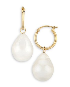 Bloomingdale's - Baroque Pearl Drop Hoop Earrings in 14K Gold - 100% Exclusive