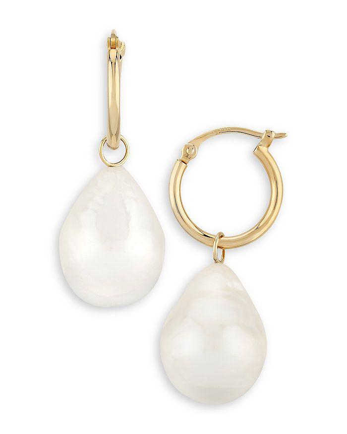 Bloomingdale's - Baroque Pearl Drop Hoop Earrings in 14K Gold - 100% Exclusive