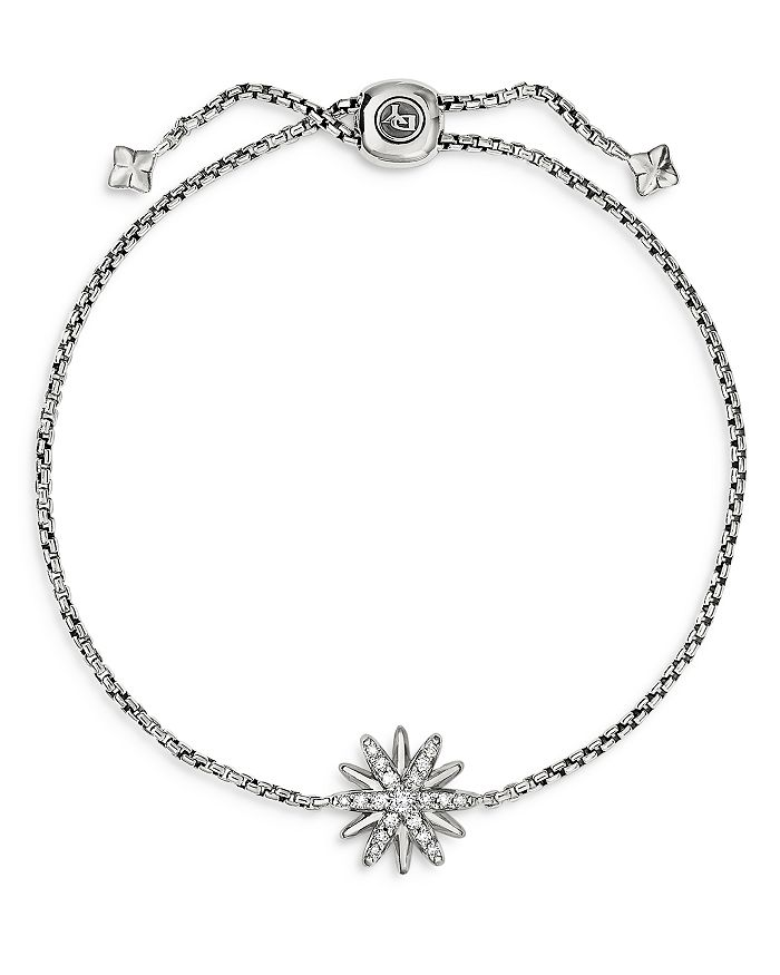 David Yurman - Sterling Silver Starburst Bolo Bracelet with Diamonds