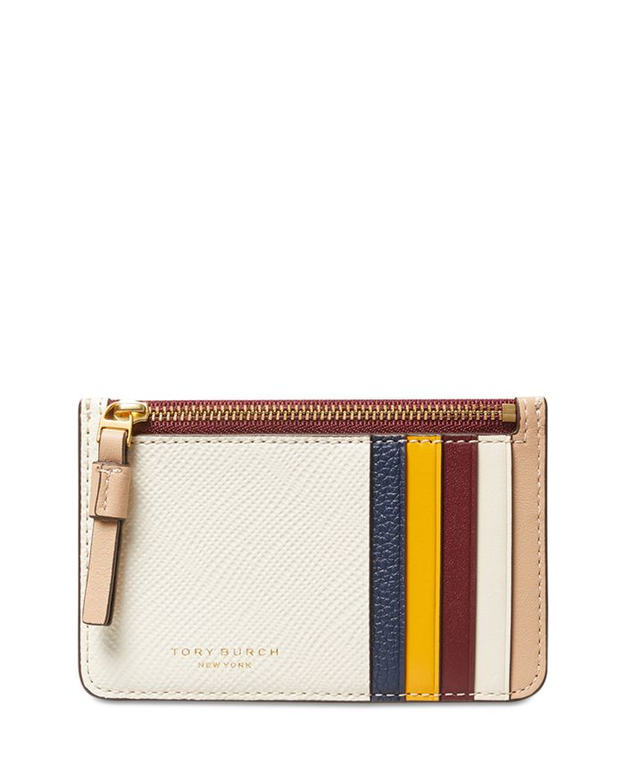 Tory Burch Perry Color Blocked Leather Card Case  | Bloomingdale's