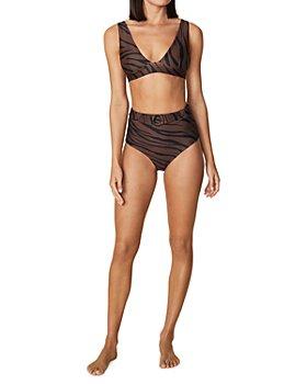 Faithfull the Brand - Tiger Print Bikini Top & Belted Bikini Bottoms