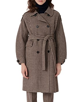 Maje - Greg Belted Dogtooth Patterned Coat