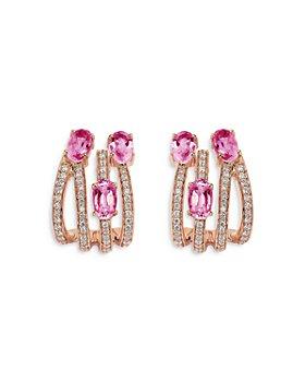 HUEB - HUEB 18K Rose Gold Spectrum Pink Sapphire & Diamond Earrings