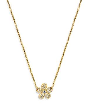 18K Yellow Gold Flores Diamond Pendant Necklace