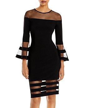 AQUA - Bell-Sleeve Illusion Dress - 100% Exclusive