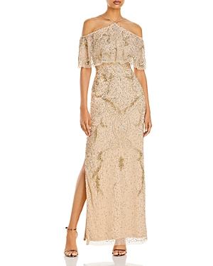 Cold-Shoulder Beaded Gown