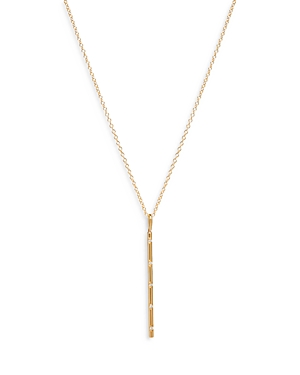 Zoe Chicco Diamond Accented Vertical Bar Necklace in 14K Yellow Gold, 16-18, 0.025 ct. t.w.