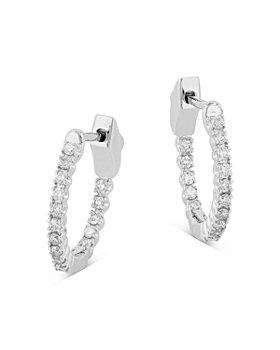 Bloomingdale's - Diamond Inside Out Huggie Hoop Earrings in 14K White Gold, 0.25 ct. t.w. - 100% Exclusive